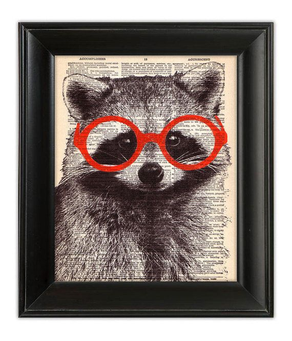 Rocky RACCOON Wearing Glasses ORIGINAL Art Hand Painted Mixed Media Print Illustration on Antique 1930's English Dictionary Book Page 8x10
