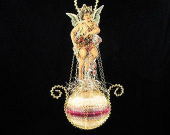 Victoriaanse kerst ornament, Victoriaanse stijl Kerst ornamenten, engel ornamenten, glazen engel ornament - ENGEL VAN LIEFDE