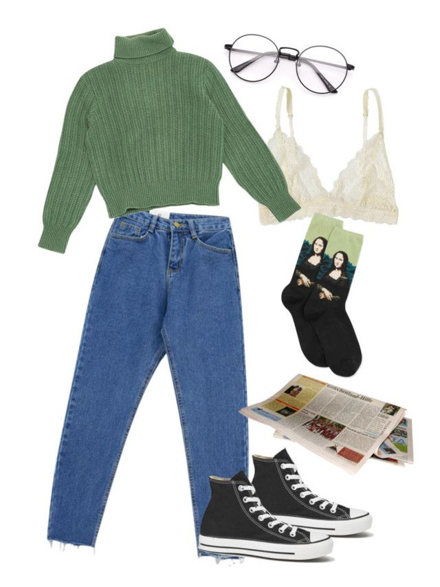 Untitled #1 by julietteisinthe80s on Polyvore featuring polyvore, fashion, style, Yves Saint Laurent, Chicnova Fashion, HOT SOX, Lonely, Converse and clothing