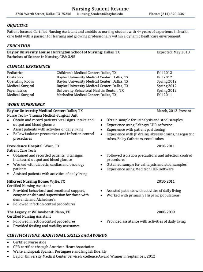 resume for new nurse