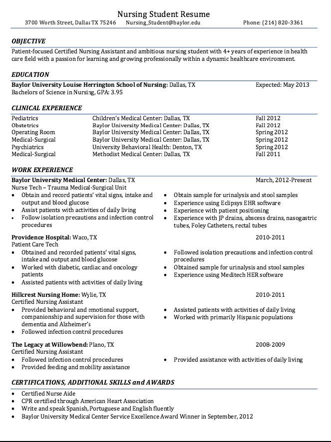 392 best Nurse images on Pinterest Therapy tools, Nursing - sample resume for nursing student