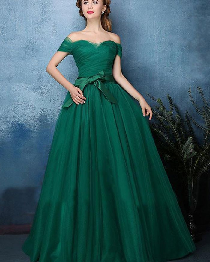 ce0e769fbe off the shoulder tulle and satin green prom dress, long simple formal dress  for special occasion