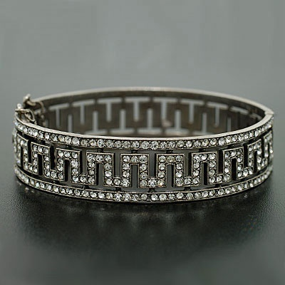 Anything Greek Key from the 20's... real deal... this Art Deco Sterling & French Paste Bangle Bracelet, ca. 1920 is good enough when the diamond one might be out of reach... beautiful craftsmanship nonetheless.
