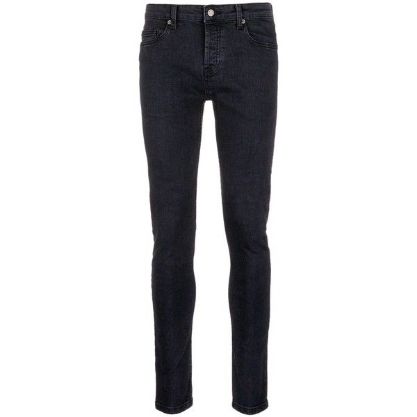 Topman Mid rise stretch skinny jeans ($55) ❤ liked on Polyvore featuring men's fashion, men's clothing, men's jeans, black, mens stretchy jeans, mens mid rise jeans, mens super skinny stretch jeans, mens stretch jeans and topman mens jeans
