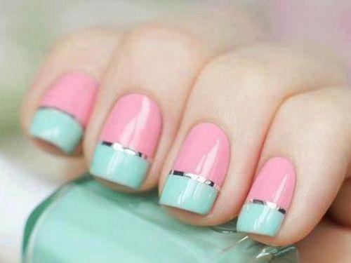 cute, fashion, mint green, nail polish, pastel, pink, pretty