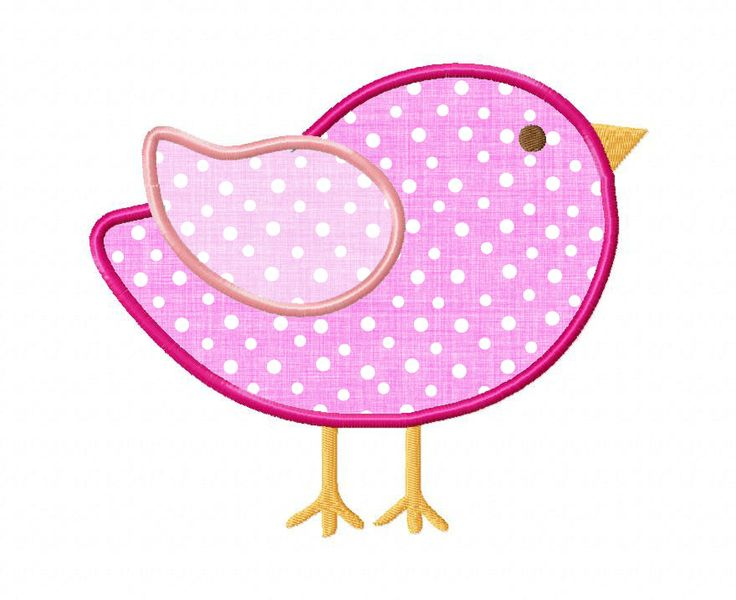$2.95 Little Bird Applique Machine Embroidery Design. You Get Four Sizes  For This Design.