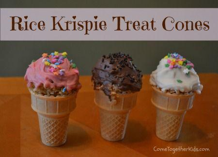 Chocolate-Covered Rice Krispie Treat Cones ~ cute idea for ...