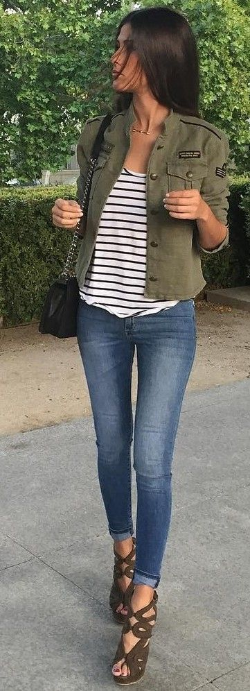 #fall #street #style | Khaki + Stripes + Denim