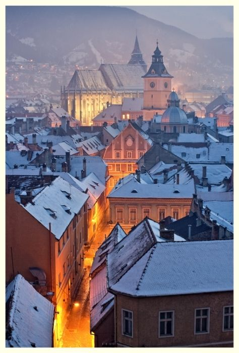 Snowy Night, Brasov, Bucharest, Romania  photo via beautifulplaces