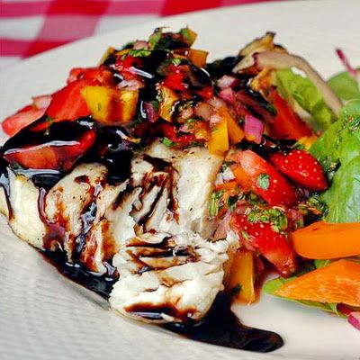 Grilled Halibut with Strawberry Salsa and Honey Balsamic Drizzle