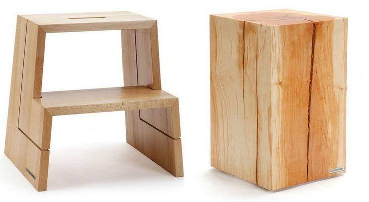 accessoires cuisine bois- marchepied à 2 marches et tabouret tronc