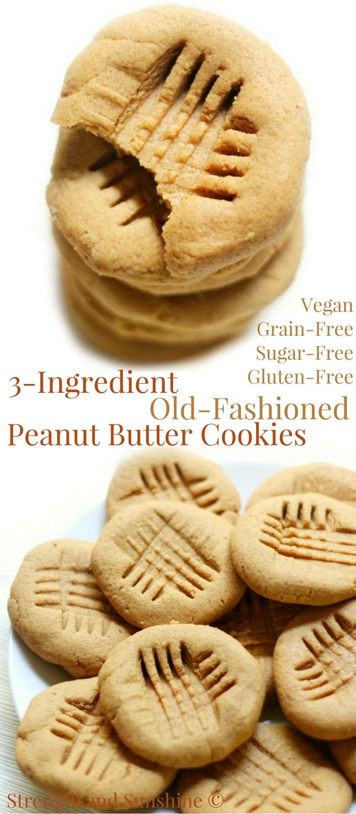 3-Ingredient Old-Fashioned Peanut Butter Cookies (Gluten-Free, Vegan) | Strength and Sunshine @RebeccaGF666 The classic American cookie now with a gluten-free, vegan, grain-free, & sugar-free recipe! These healthy 3-Ingredient Old-Fashioned Peanut Butter Cookies are so quick & easy to make and taste just like grandma's! #glutenfree #vegan #cookies #peanutbuttercookies