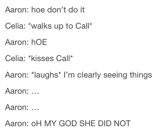 OH MY GOSH YES there's finally a legit Calron reason why Aaron was laughing!
