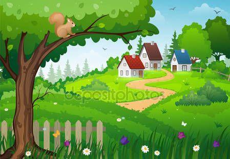 Byn på grönt fält — Stockillustration #154463718