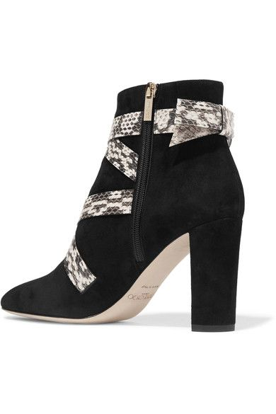 Jimmy Choo - Heat Suede And Elaphe Ankle Boots - Black - IT36