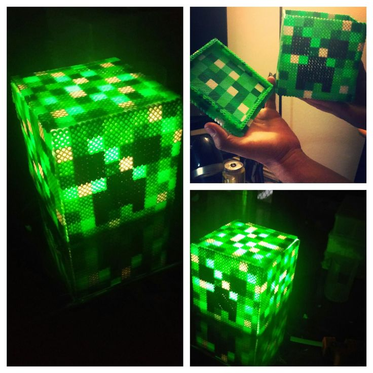 Minecraft Creeper nightlight perler beads by Zombestie