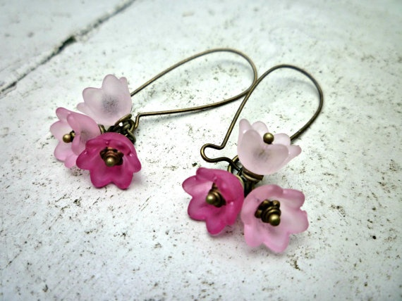Bell Flower Fushia & pink Frosted flowers. Bohemian. Spring jewelry. Summer. Flowers and Antique brass Earrings. Pastel pink earrings.. $7.50, via Etsy.By: McKeeJewelryDesigns