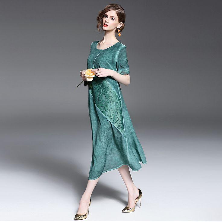 2017 Spring Summer Dress Women 100%Silk Green Purple dresses Long High Quality Clothing Free Shipping