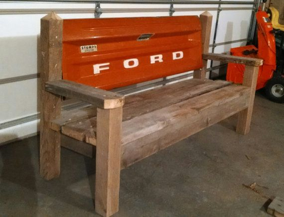 Reclaimed Wood Ford Tailgate Bench By Tailgateguy On Etsy