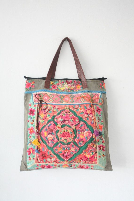 Vintage Pattern Extra Large Embroidered HMONG Tote Bag Leather Strap Hill Tribe Thailand Fair Trade Handmade Pom Pom (BG052.700)