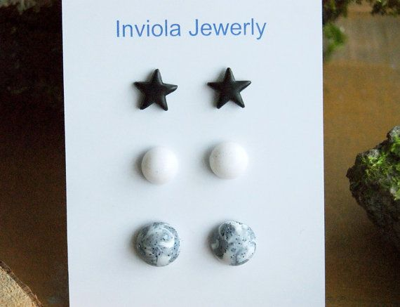 SALE Set 3 clay stud earrings Black star White by InviolaJewerly