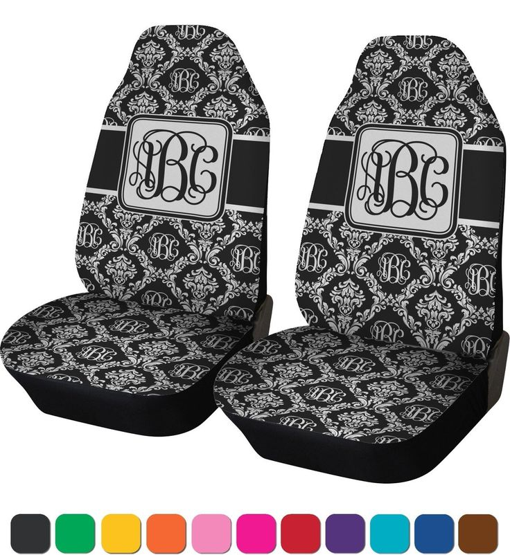 Monogrammed Damask Car Seat Covers (Set of Two