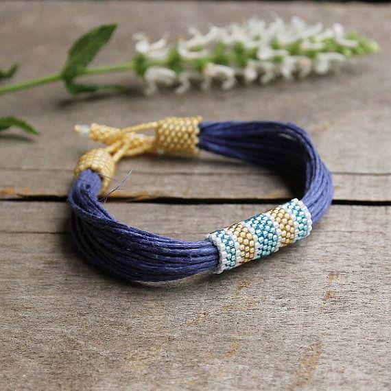 Blau Bettwäsche Armband Marine Schmuck organisch Armband Sommer Perlen Armband Beadwork-Geschenk-Eco-Mode