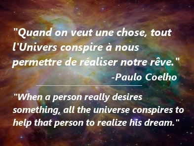One of my favorite inspirational quotes about dreams by Paulo Coelho, the famous Brazilian author.