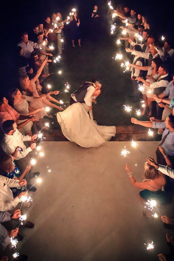 Break the confetti tradition and opt for sparklers that provide an eye-catching and theatrical exit. Source: style me pretty. #sparklers #weddingsendoff