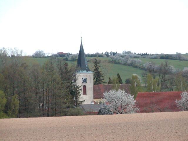 Oleška, CZ: kostel Všech svatých: Marriage place for Frantisek Klein and Maria Divisova, 7 Jan 1867. Baptism place of Frantisek Klein, born 1828