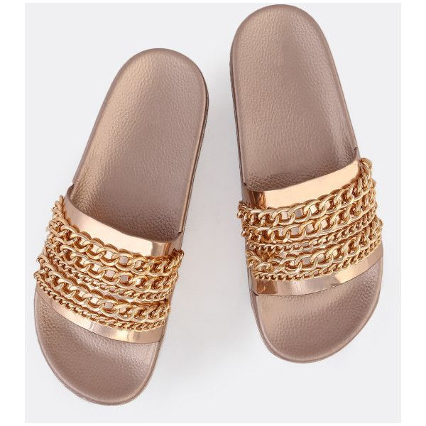 Metallic Chain Link Slides ROSE GOLD ($20) ❤ liked on Polyvore featuring shoes, sandals, flats, slides, pink, flat shoes, pink flat shoes, metallic sandals, pink shoes and metallic flats