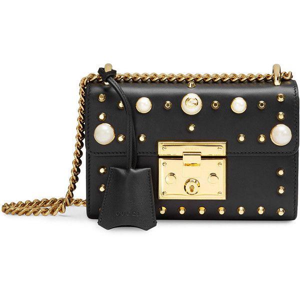 Gucci Padlock studded leather shoulder bag ($2,012) ❤ liked on Polyvore featuring bags, handbags, shoulder bags, black, studded purse, gucci purse, shoulder handbags, studded shoulder bag and leather shoulder bag