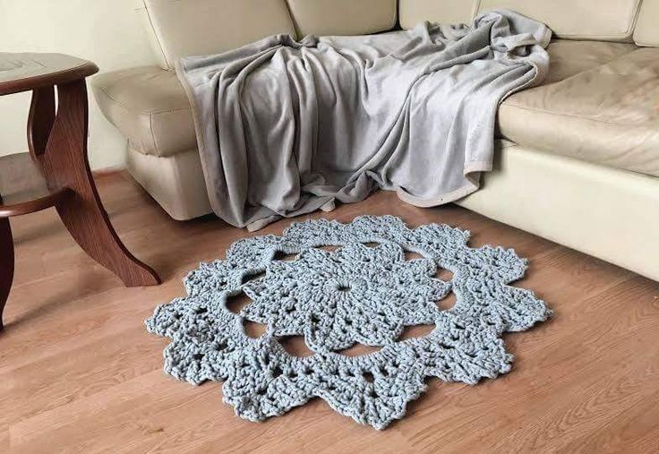 Dywan szydełkowy, crochet, grey, carpet, cotton, diy, hand made