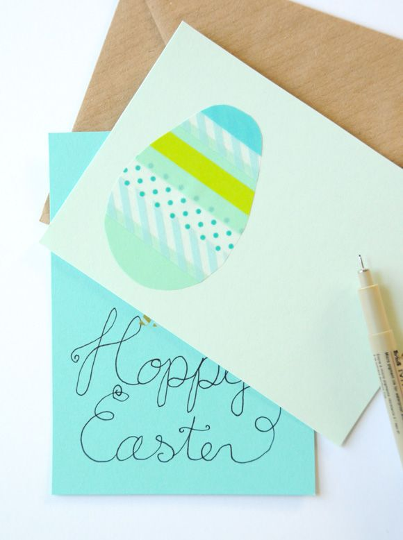 Tape or ribbon or paper on a piece of paper, cut out the shape and glue/tape to card. Do egg or bunny.
