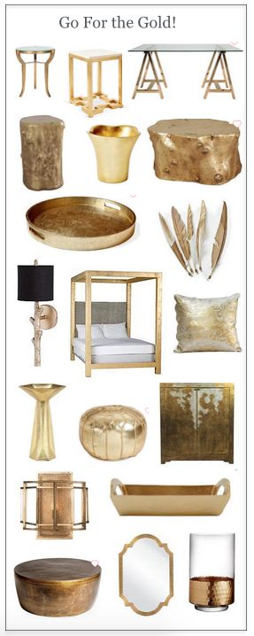 Embrace the latest in design trends with this amazing collection of gold furnishings, accessories, mirrors, lighting, and more.