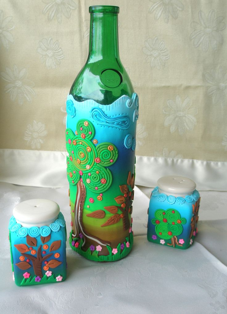 https://flic.kr/p/dHPKHN   Recycling old bottles   Whater or wine bottle and salt and pepper set