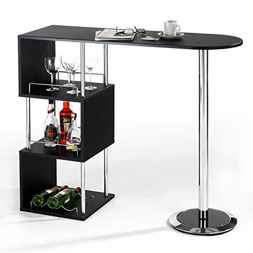 Table haute de bar mange-debout comptoir VIGANDO 3 tablettes MDF décor noir