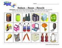 Reduce, Reuse, Recycle Worksheet:Look at the items pictured below. Think about what can be recycled. Cut out the pictures that can be recycled and paste them onto page 2.