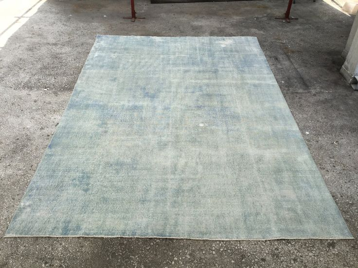 Ice Blue Vintage TURKISH ANATOLIAN Overdyed Oushak Carpet RUG 10'2  x 6'9 by EclecticRug on Etsy