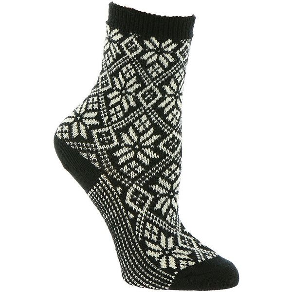 Smartwool Women's Traditional Snowflake Socks Black Socks ($24) ❤ liked on Polyvore featuring intimates, hosiery, socks, black, wicking socks, smartwool socks, breathable socks, moisture wicking socks and sweat wicking socks