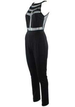 Splicing Halter Jumpsuit - Black