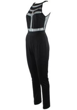 Splicing Halter Jumpsuit - Black
