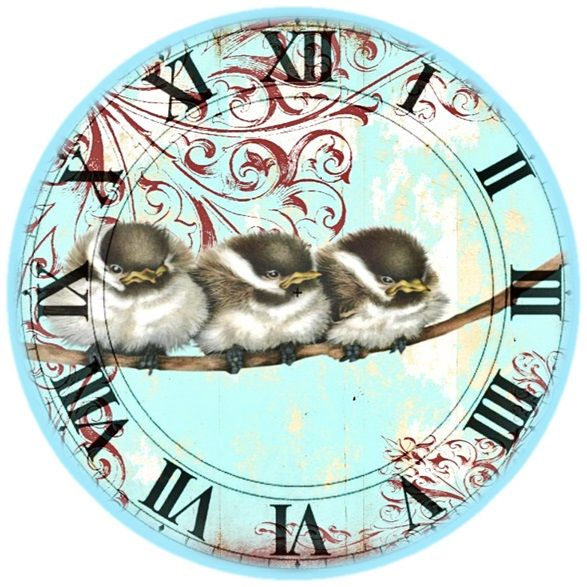 Face clock - darling chickadees                                                                                                                                                      More