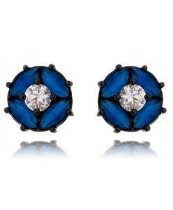 brinco azul safira com zirconia cristal e banho de rodio negro semi joias da moda