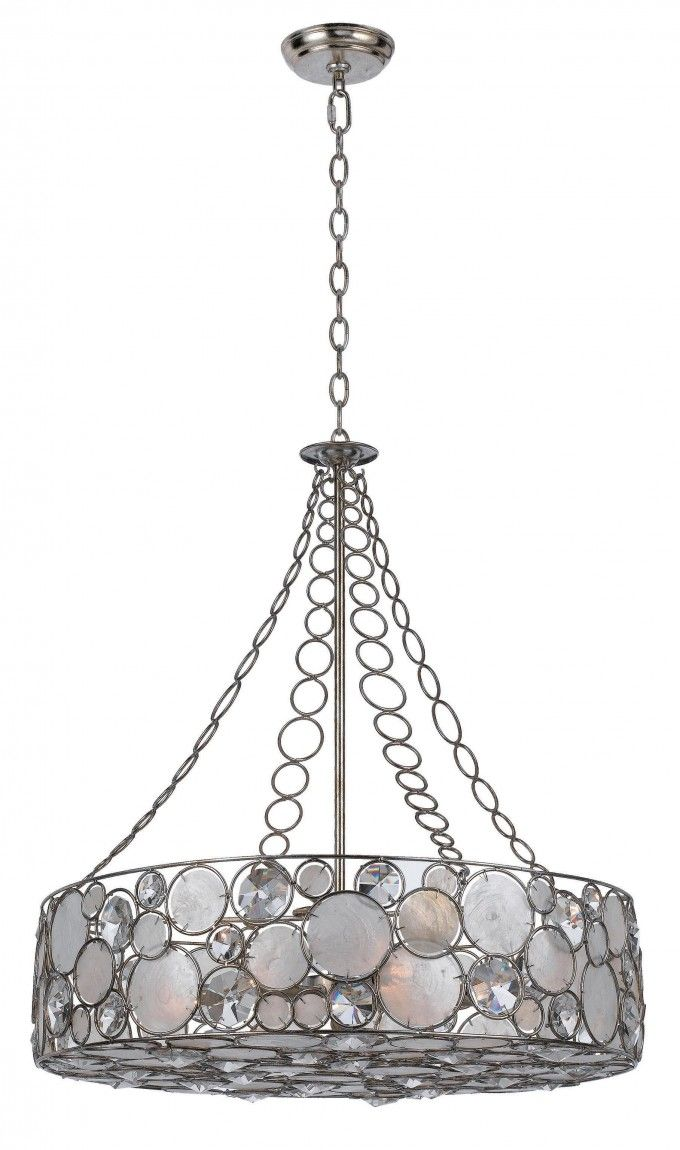 Capiz Shell Chandelier With Silver Iron Holder For Home Lighting Ideas