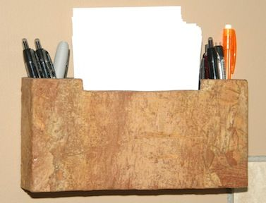 Note Holder made out of luan plywood and covered with Birch bark. Paper is 8.5  11 cut in four.