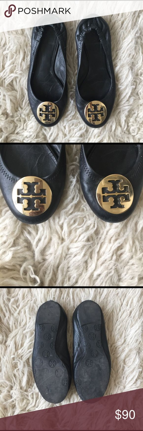 Tory Burch 7 Gold & Black Tory burch authentic flats. I had the box forever but threw it away since I live in a small loft. Has wear. True 7 Tory Burch Shoes Flats & Loafers