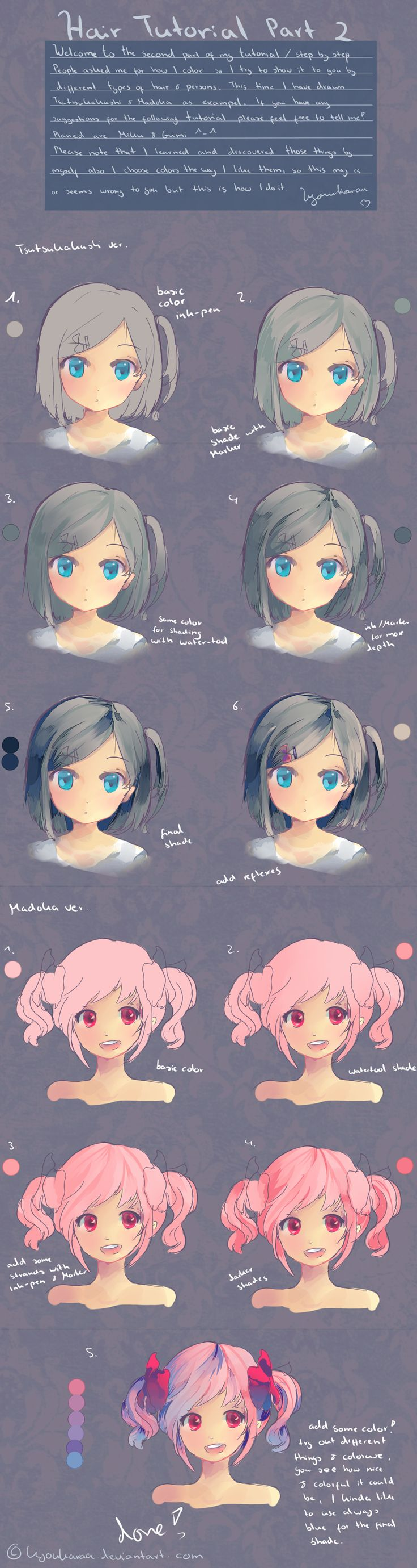 Hair Tutorial Part 2 by KyouKaraa.deviantart.com on @deviantART