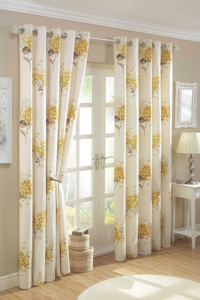 yellow gold cream lined curtains with eyelet ring tops 66 x 72 rh pinterest com