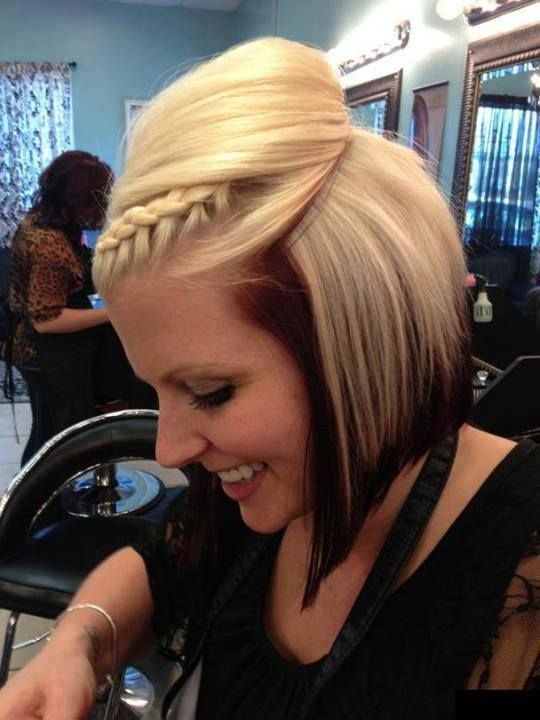 I like the hairdo for short hair, braid and bump